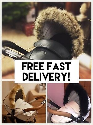 EGG PRAM pram hood fur, fur trim, pushchair, buggy, FAST DELIVERY,