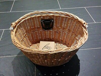Evans Bicycle Wicker Handlebar Basket with Carry Handle & Quick Release Bracket