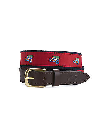 vineyard vines Boys Canvas Club Belt Woody & Tree Christmas Red Sz 28
