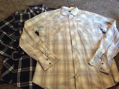 Lot Of 2 7 Diamonds mens Pearl Snap Shirts L Plaid Embroidered Zipper Large