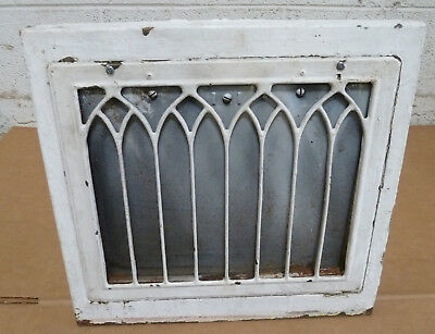 Antique Vintage Wall Heat Grate Register Working Operable Cathedral Gothic #2