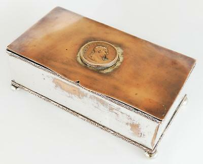 Pretty ANTIQUE SILVER PLATE TRINKET BOX With GEORGE III COIN