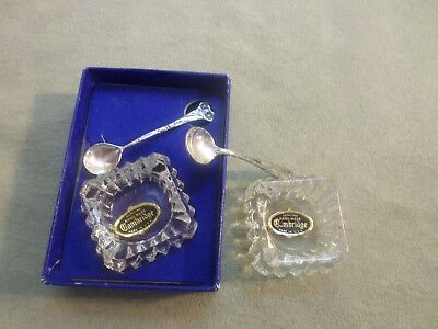 set of 2 vtg  cambridge open salt cellars  w/ sterling silver spoons w. stickers