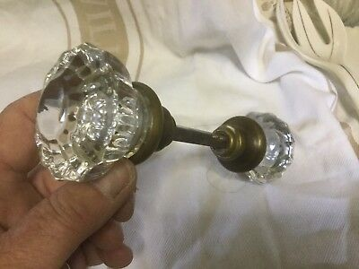 Pair Of Crystal Glass Vintage Door Knobs With Center Shaft