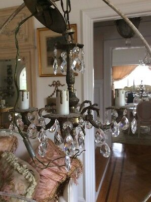 Antique Petite Chandelier crystal prisms italian french style brass small vtg