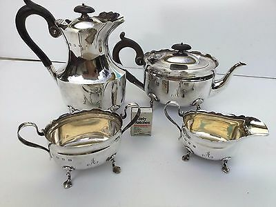Antique solid sterling silver 925 coffee tea set 4 piece with hallmarks