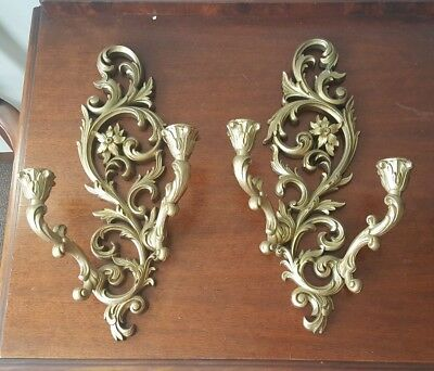 Vintage Homco Syroco Burwood Double Arm Sconces Wall Candle Candelabra PAIR (2)