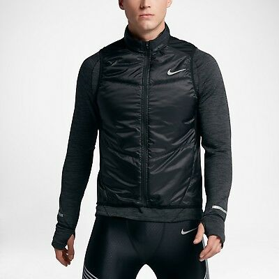 Men's Nike Polyfill Running Vest NEW Black / Reflective Silver , MSRP $80