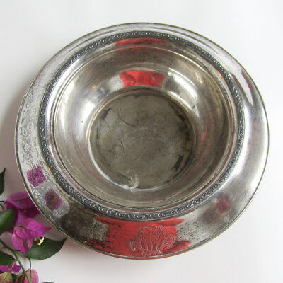 Antique Victorian SILVER DOG BOWL Plated Decorative Base Wm Rogers & Son 1800s
