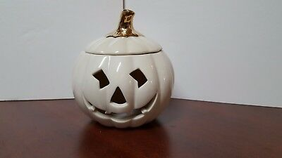 LENOX BONE CHINA HALLOWEEN PUMPKIN TEALIGHT HOLDER GOLD ACCENT Exc New Condition