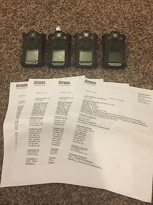 (4) MSA 10107602 ALTAIR 4X Gas Detector,LEL, O2, CO, H2S,Calibration Certificate