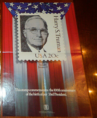 Harry S Truman USPS 20c Stamp Poster 1984