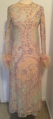 AJ Bari Vintage Lace Cocktail Gown Feather Cuffs Long Sleeve Multicolor S