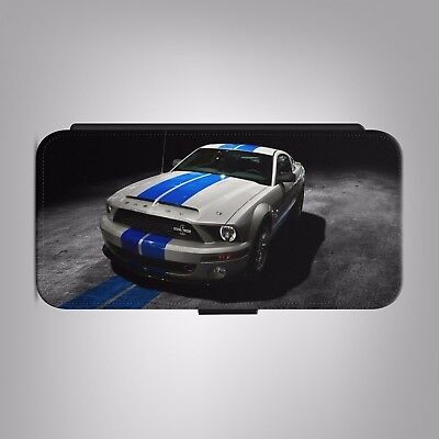 Ford Mustang Shelby GT500 LEATHER FLIP PHONE CASE COVER fits IPHONE SAMSUNG