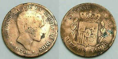 (R1) 10 Centimos 1878 Alfonso Xii