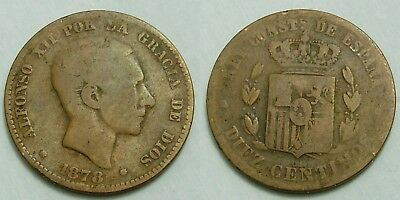 (R5) 10 Centimos 1878 Alfonso Xii