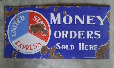 RARE UNITED STATES EXPRESS Porcelain Sign Money Orders SOLD  Here Rare