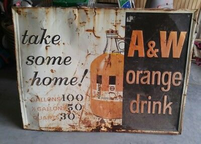"Vintage Scarce A&w Orange Drink 35"" X 47"" Metal Pop Sign"
