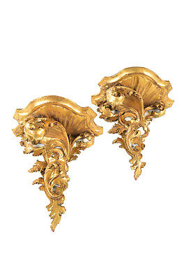 Antique Rococo Gilt wood Brackets wall sconces-Pair