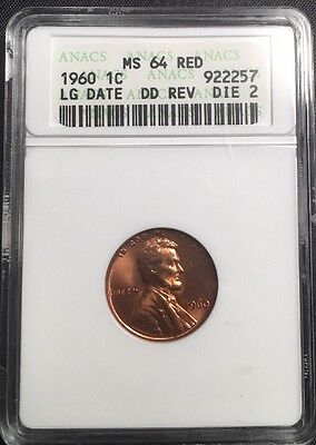 1960 MS64 Large Date DDR RD Red Lincoln Memorial Cent ~ ANACS Graded DBL DIE REV