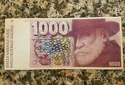 Switzerland 1000 Swiss Currency Money Bill Bank Note.