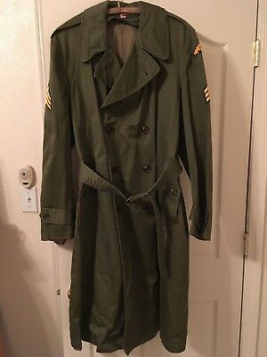 Vintage Regular LARGE US Army Olive Green Trench Coat Jacket 1950's