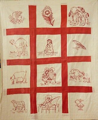 Redwork Antique Embroidered Quilt