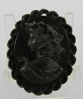 Antique Edwardian Gutta Percha Mourning Pendant Lady w/Grapes Vine in Hair