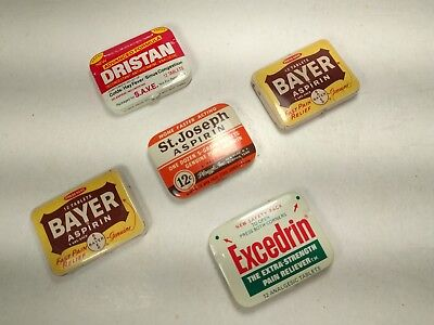 Lot of 5 Vintage Metal Aspirin Tins Bayer Excedrin St Joseph Dristan