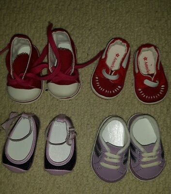 American Girl Lot of 4 Red Running Shoes Purple Dress Shoes -Excellent Condition