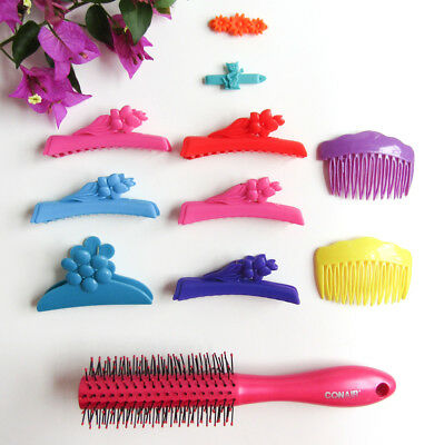 Vtg 70s 80s Hair Clip Accessory Colorful Plastic Claw Barrette Lot CONAIR BRUSH