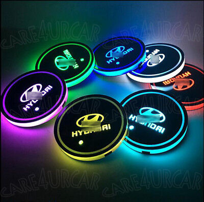 2PCS RGB LED Car Cup Holder Pad Fit For Hyundai Auto Interior Atmosphere Lights