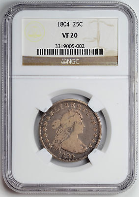 1804 Draped Bust 25C Ngc Ms 20