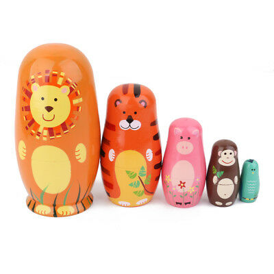 5pcs Lovely Animal Painted Wooden Russian Nesting Babushka Doll Kid Toy Gift