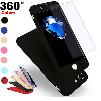 For Apple iPhone 6s 7 8 Plus Ultra Thin 360 Full Body Case Cover Tempered Glass