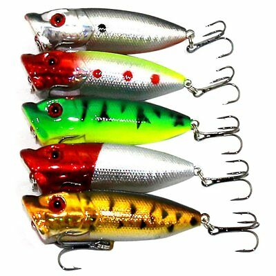 HENG JIA 5x Popper Minnow Freshwater Fishing Lures Bass Bait Tackle B6A7