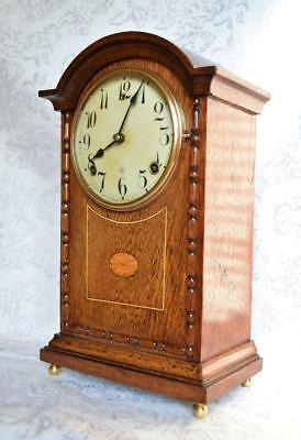 Antique English Style Gilbert Mantel Clock With Inlay. Restored.