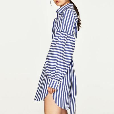 New Style Autumn Fashion Wear Long Sleeve Blue Color Dress for Women