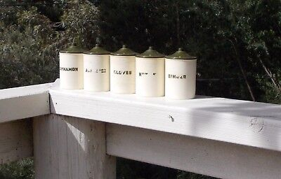 Vintage Bakelite Spice Canister Set of Five Art Deco Retro Kitchenalia Antique