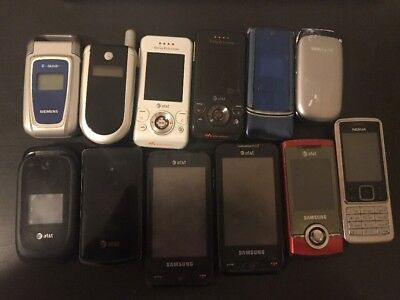 Lot Of 11 Old Vintage Cell Phone-Sony-Motorolla-Siemens-Samsung-Lg-Nokia