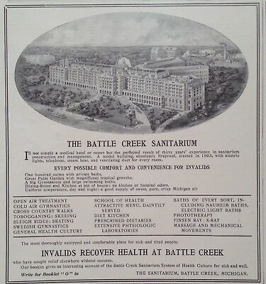 1905 Ad(G8)~The Battle Creek Sanitarium For Invaild Health Recovery