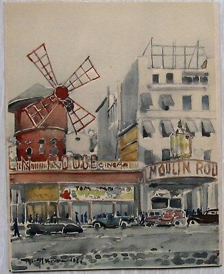 Aquarelle, Moulin Rouge Paris 1930, signée