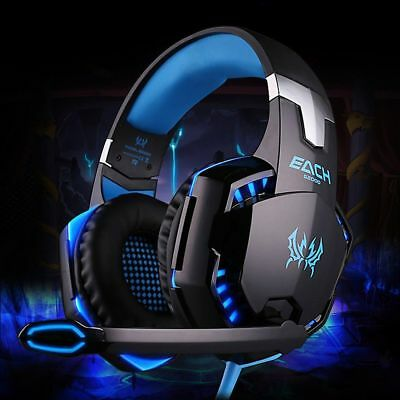 3.5mm Gaming Headset Mic LED Headphones Stereo Surround for PC Laptop Gamer W