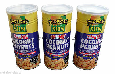 3 x Tropical Sun Crunchy Coconut Peanuts (330g) Large Tub