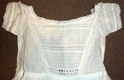 Antique Heirloom Fine Cotton Lawn Hand Stitched Christening Gown Pin Tucks Lace