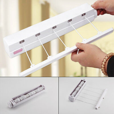 5 Line Retractable Airer Wash Laundry Wall Mounted Indoor Clothes Dryer Hanger