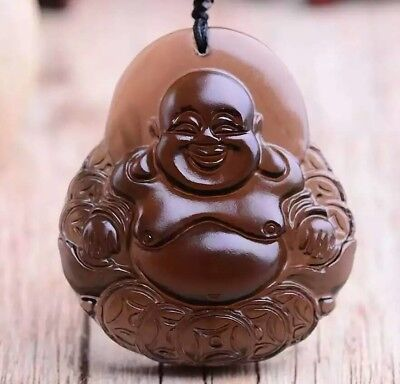 Hand Carved Natural Ice Obsidian Maitreya Buddha Lucky Amulet Pendant Necklace