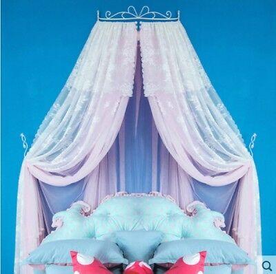 Queen Size Pink Lace Ceiling Mosquito Net Bedding Bed Curtain Netting Canopy *