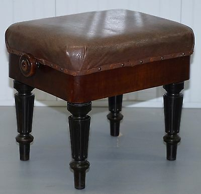 Rare H Brooks Of London Rosewood & Walnut Circa 1875 Piano Stool Height Adjust