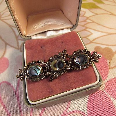 Vintage Antiqued Bronze Coloured Metal & Abalone Bar Brooch Pin